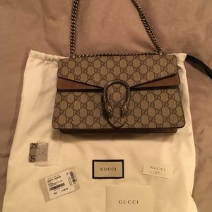 Gucci Dionysus Small GG Shoulder Bag Taupe Suede